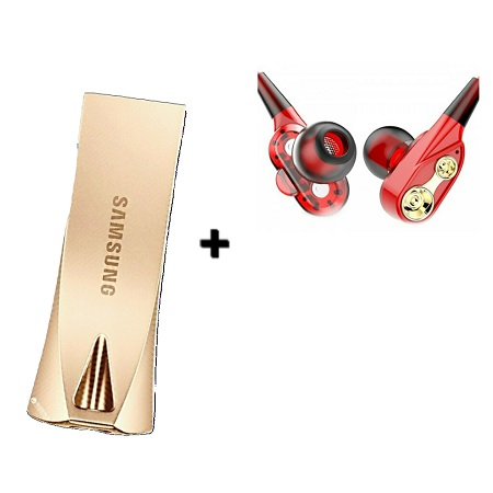 Samsung Flash Disk USB  3.1 Flash Dive 64GB with free earphones- Gold