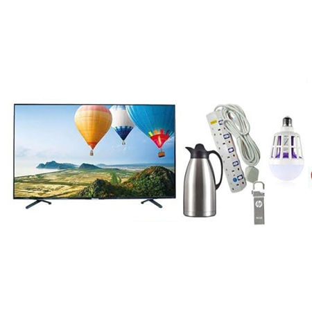 Syinix 32 Inch Digital Tv + 3 Litres Stainless Steel Vacuum Jug + 16 Flash + Heavy Duty Extension + Mosquito Killer Bulb