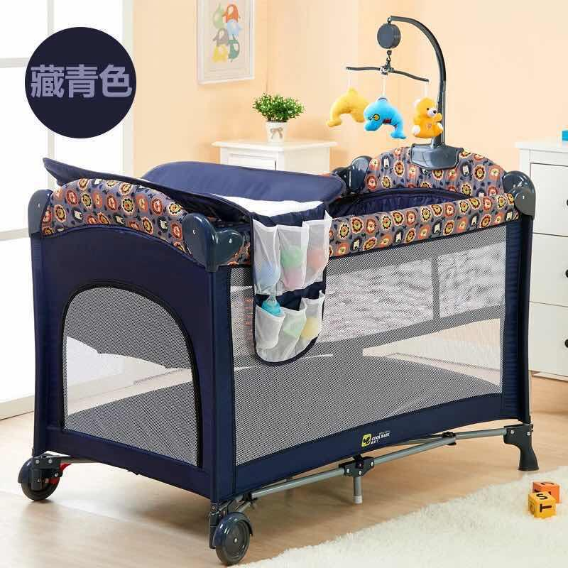 Dark Blue Baby Cot Playpen Baby Crib With Changing Station And Toys