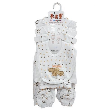 Fashion New Born Gift Set, OverAll, PYJAMA,CAP,BIB,VEST-BRIEFS & BOOTIES -8 Pieces( Print May Vary)
