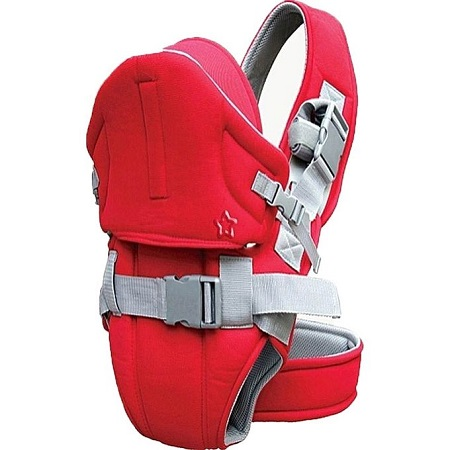 Best And Comfortable Baby 2 STRAP Carrier With a Hood - Red