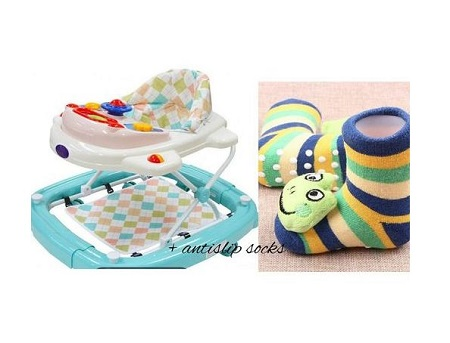 2 in 1 Baby Walker/Rocker + A pair of Anti slip Baby socks