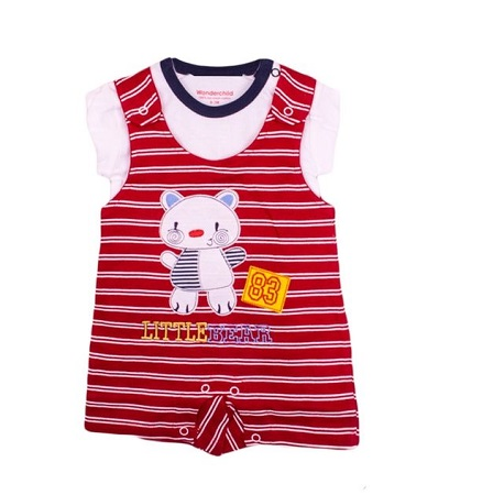 2 Pc Dungaree Set( White t-shirt And Dungaree) - Multicoloured