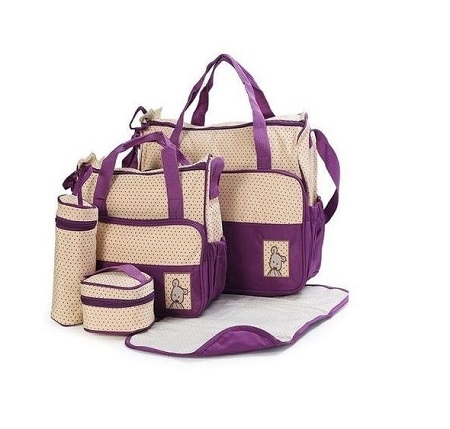 Bear Club 5 PCs Diaper Bag, Waterproof Nappy Bag For Travel - Purple