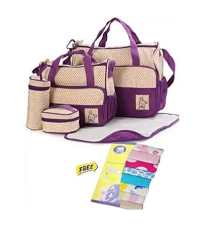 5 in 1 set Purple Baby Diaper Bag + comes With Free Wash clothes