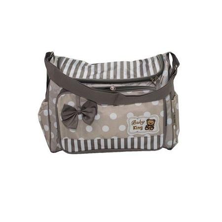 Baby Kingdom 1 Piece Medium Size Multi functional Diaper Bag - Grey & White .