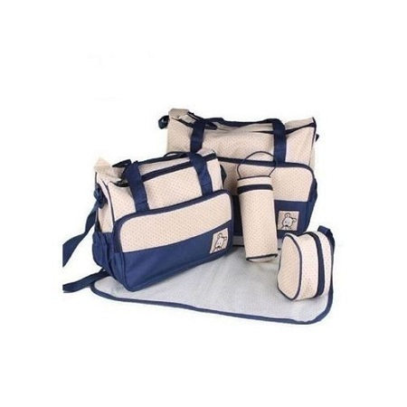 Bear Club Shoulder Diaper Bag, Multi Pockets Waterproof Nappy Bag For Travel, Large Capacity and Stylish- Blue.