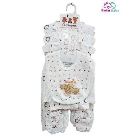 Fashion New Born Gift Set, OverAll, PYJAMA,CAP,BIB,VEST-BRIEFS & BOOTIES -8 Pieces