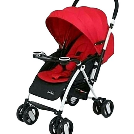 Generic Baby Stroller/ Foldable Pram Portable With Reversible Handles - Black and Red
