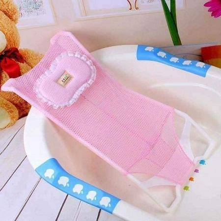 Generic Baby and Infant Bathtub Seat Net Antiskid Shower Mesh Support Kids Safety Bath- Pink