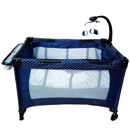 Generic Baby playpen bed/ baby crib- blue with white polka dots