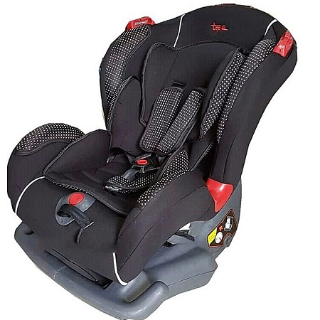 Generic Big size Reclining Car Seat with a Firm Base- Black with White Polka Dots( 0-7 yrs)