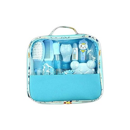 Generic Classy Baby Grooming Nursery Healthy Kit with a clear pouch - Blue