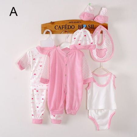 Generic 8 Piece Baby cotton newborn set- pink