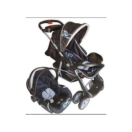 Generic Superior 3 in 1 Baby Stroller Set - Black & Grey