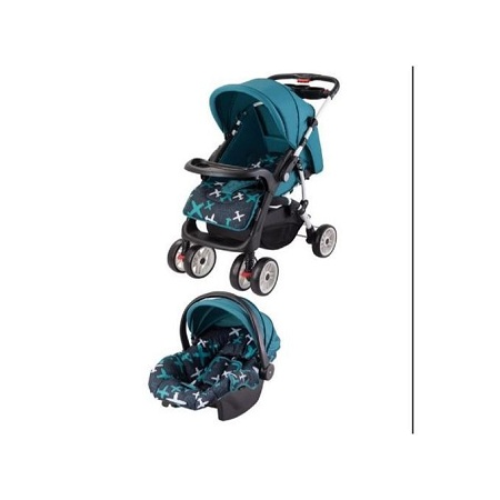 Generic Superior 3 in 1 Value Pack baby stroller set- Blue printed plus free gift