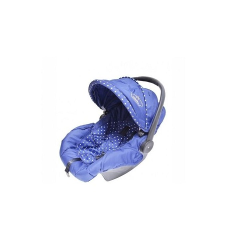 Generic Superior 3 in 1 baby stroller set- Blue & White Polka dots