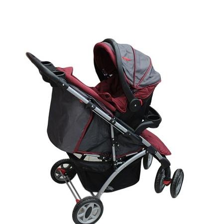 Generic 3 in 1 baby stroller set- Maroon