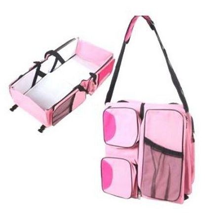 Generic 4 in1 Foldable Diaper Bag, Bassinet, travel bag And Change Station- Pink