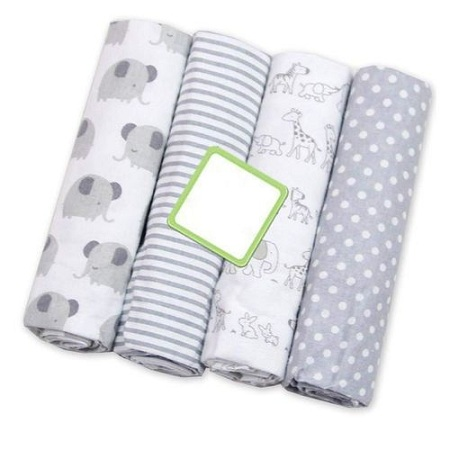 High Quality Baby Cotton Receiving Blankets- Set of 4