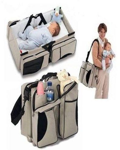 Ibaby 4 in1 Foldable Diaper Bag, Bassinet, travel bag And Change Station- Grey