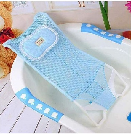 Baby and Infant Bathtub Seat Net Antiskid Shower Mesh Support Kids Safety Bath- Blue