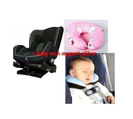 Top 2 Infant Polka Dot Car Seat( 0- 7 years) + a free assorted colors baby neck pillow
