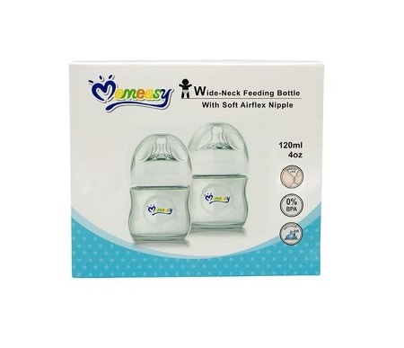 Mom Easy Wide Neck Feeding Bottle with Soft Airflex Nipple - 120ml.
