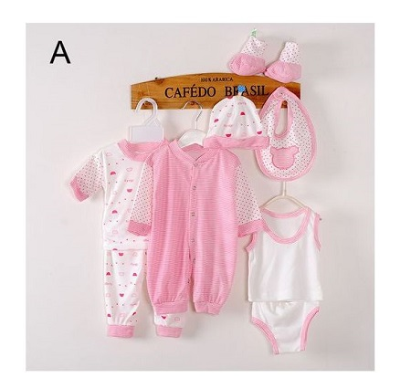 8 Piece Baby cotton newborn set- Pink