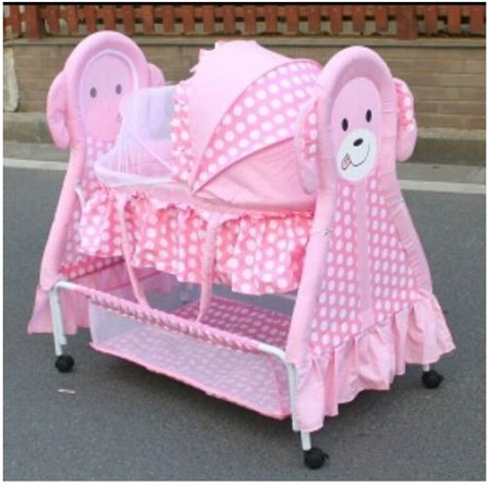 Rocking Baby Crib/Rocking Bed Baby Cradle Swing Cot & Baby Stroller With With Fabric Mosquito Net Infant Crib Baby Bed with Animal Print- Pink