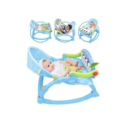 Infant to Toddler Rocker/Bouncers ( 0+ months) with a Piano-Blue