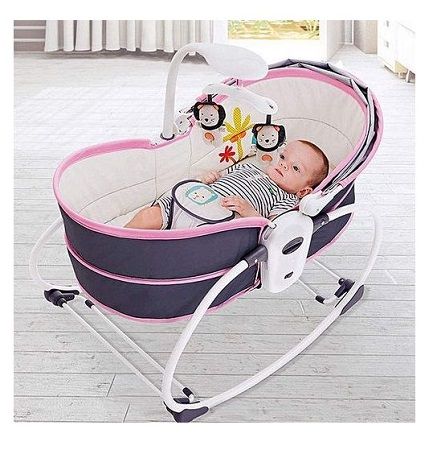 Electric Baby Shaker Vibration Rocker Chair 5-in-1 Nest Swing Chair Bouncer Chair Multifunction Adjustable Music (0-36 months)