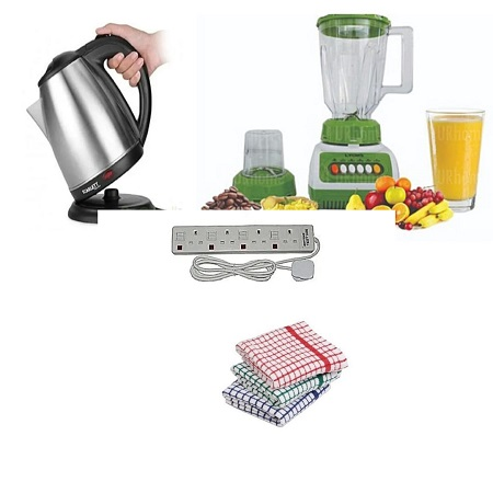 Premium Crown Blender 1.5 Litres + Electric Kettle + 4 Way Extension Cable + Kitchen Towels
