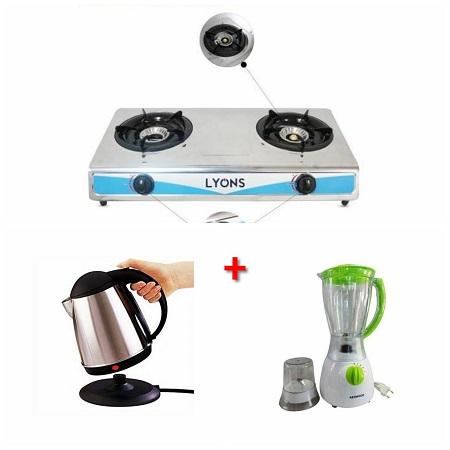 Lyons High Quality 2-Burner Table Top Gas Cooker + Electric Kettle + Kenwood Blender