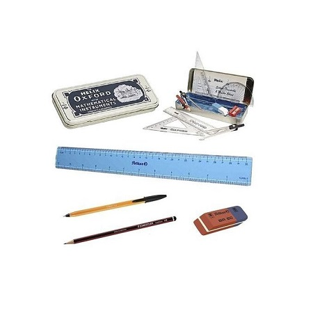 KCSE/KCPE EXAM PACK (Oxford geometrical set, 2 bic blue sharp pointed Biro's, 2 HB pencil, 30cm ruler, BR 80 eraser)