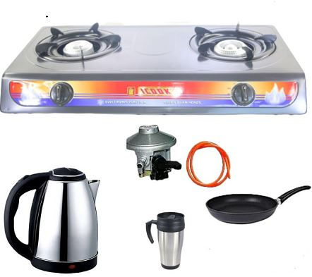 icook Two Gas Stove Table Top + Kettle + Nonstick Pan + Travelling Mug + Gas Regulator