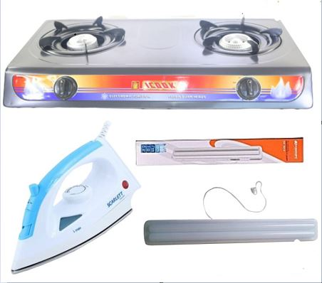 icook Two Gas Stove Table Top + Free Iron Box + Kamisafe Rechargeable Lamp
