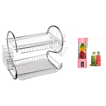 Two Tier Stainless Steel Dishrack + Portable Blender