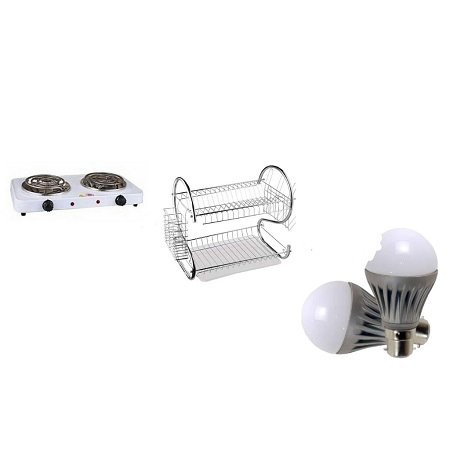 Double Electric Hotplate + Two Tier Stainless Steel Dishrack + Mosquito Bulb