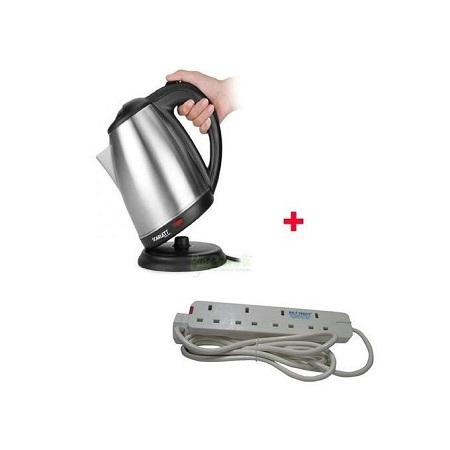 Scarlett Cordless Elect Kettle With Free 4-Way Ext Cable- 2L- Silver.