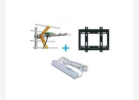 Digital Aerial + 14 Inch-42 Inch TV Wall Bracket Free 4 Way Extension Socket
