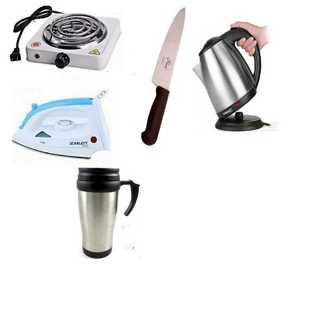 One Electric Hot Plate + One Scarlett Iron Box + One Cordless Kettle + One Travelling Mug + One Kitchen Knife