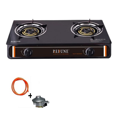 Rebune Glass Gas Stove, 2 Burner,  Black + FREE Gas pipe & Regulator