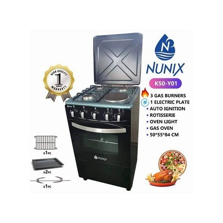 Nunix K50-Y01 - 3Gas + 1Hot Plate +Rotisserie+Auto Ignition 50*55cm Free Standing Cooker