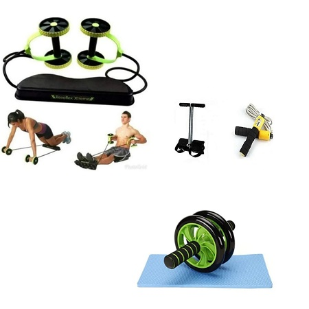 Revoflex Xtreme Total Body Fitness + Tummy Trimmer + Jumping Rope + AB Wheel Abs Roller