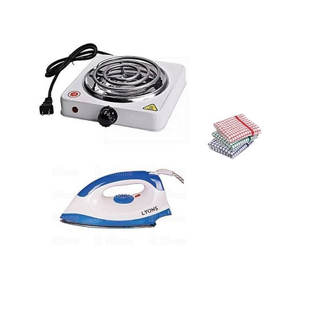Single Electric Coil + Lyons Dry Iron Box + Kitchen Towels