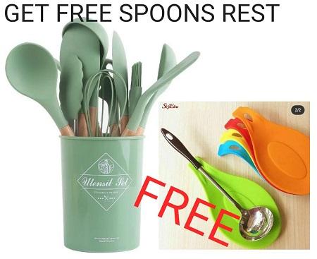 Kitchen Set 12 Piece Silicone Kitchenware GET FREE Spoons Rest
