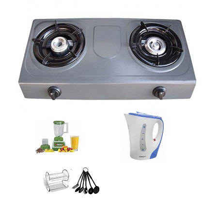 2 Burner Gas Stove + 1.7 Litre Electric Kettle + Two Tier Dish Rack + Crown Blender 1.5 Litres +  Non Stick Kitchen Spoons