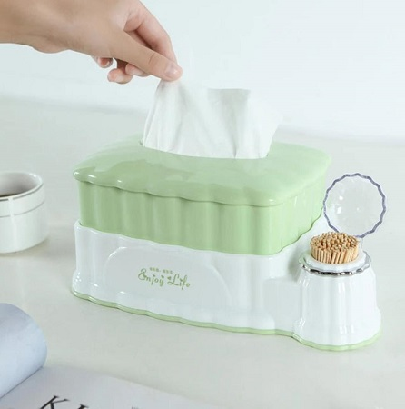 Multifunction 2-in-1 Retractable Tissue Box With Toothpick Holder