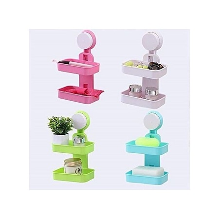 2 Tier Suction Type - Bathroom Soap Dish (Available in Different Colors)